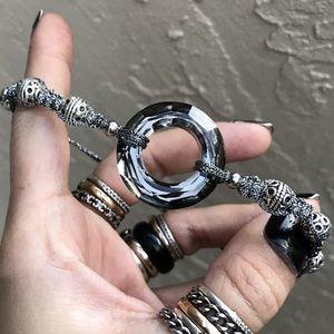 Metalic silver & black swarovski crystal bracelet